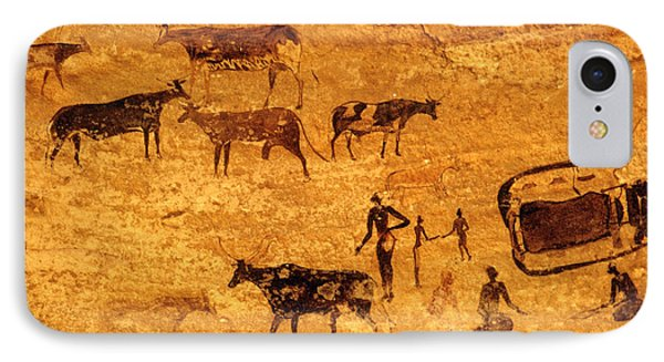 Cave Painting South Algeria Phone Case by George Holton