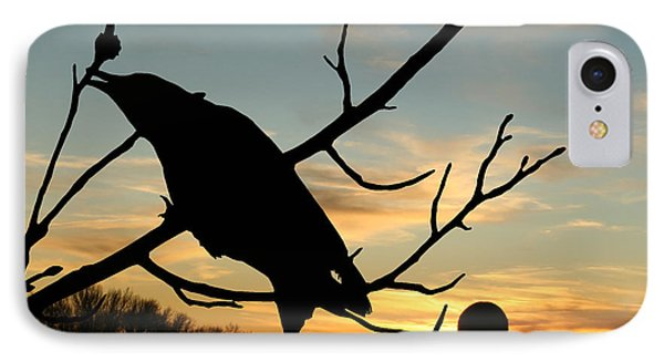 Cawcaw Over Sunset Silhouette Art IPhone Case by Lesa Fine