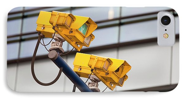 Cctv Cameras For Monitoring Traffic IPhone Case by Ashley Cooper