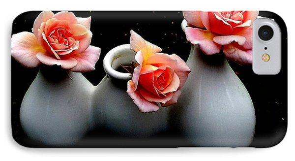Cecil Brunner Roses Against Black IPhone Case by Karen Molenaar Terrell