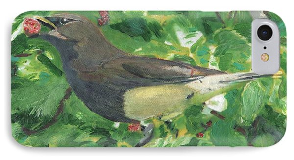 Cedar Waxwing Eating Mulberry IPhone Case
