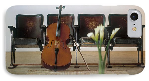 Cello Leaning On Attached Chairs IPhone Case by Panoramic Images