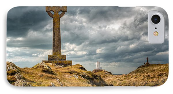 Celtic Cross At Llanddwyn Island Phone Case by Adrian Evans