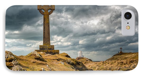 Celtic Cross At Llanddwyn Island IPhone Case by Adrian Evans