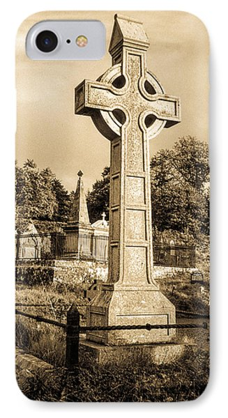 Celtic Cross In Sepia IPhone Case by Douglas Barnett
