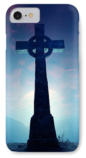 Cross iPhone 7 Case - Celtic Cross With Moon by Johan Swanepoel