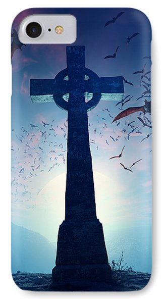 Cross iPhone 7 Case - Celtic Cross With Swarm Of Bats by Johan Swanepoel