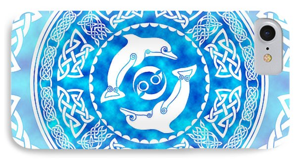 IPhone Case featuring the mixed media Celtic Dolphins by Kristen Fox