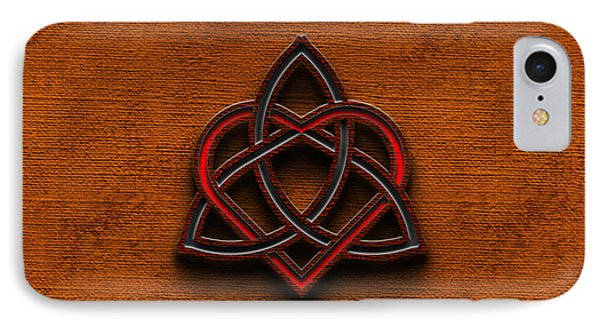 IPhone Case featuring the digital art Celtic Knotwork Valentine Heart Canvas Texture 1 Horizontal by Brian Carson