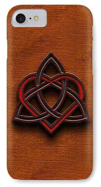 IPhone Case featuring the digital art Celtic Knotwork Valentine Heart Canvas Texture 1 Vertical by Brian Carson