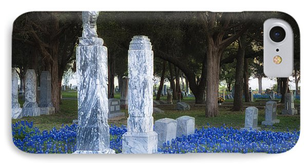 Cemetery Bluebonnets IPhone Case by Richard Mason