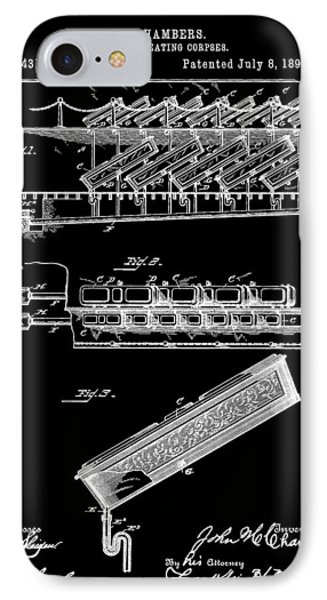 Cemetery Coffin Patent IPhone Case by Dan Sproul