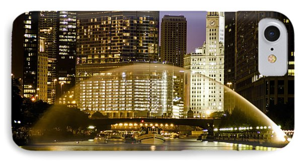Centennial Fountain Over Chicago River At Dusk IPhone Case by Sven Brogren