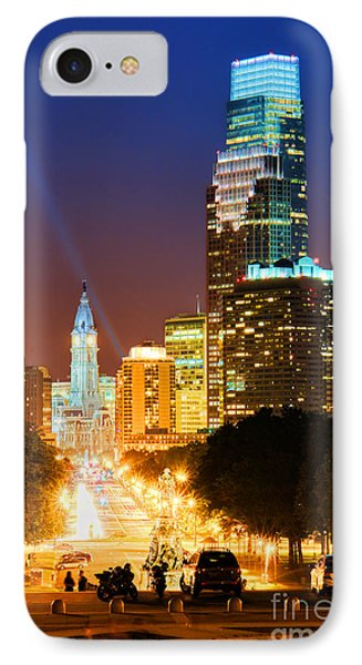 Center City Philadelphia Night IPhone Case by Olivier Le Queinec