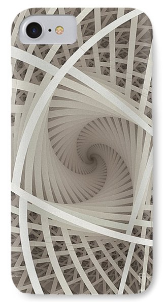Centered White Spiral-fractal Art IPhone Case by Karin Kuhlmann