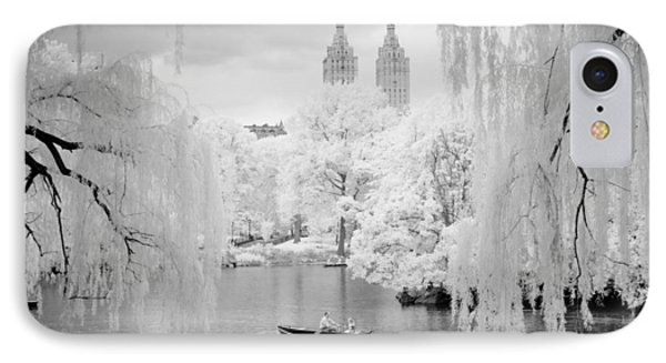 IPhone Case featuring the photograph Central Park Lake-infrared Willows by Dave Beckerman