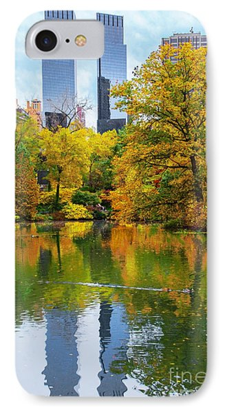 Central Park Pond Autumn Reflections IPhone Case by Regina Geoghan