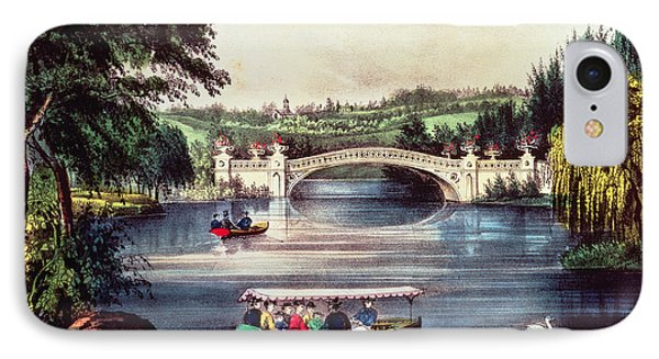 Central Park   The Bridge  IPhone Case by Currier and Ives