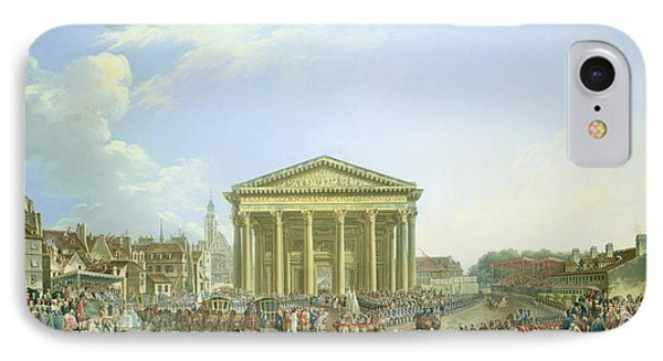 Ceremony Of Laying The First Stone Of The New Church Of St. Genevieve In 1763, 1764 Oil On Canvas IPhone Case