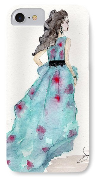 Cerulean Blue Fashion Sketch Dress IPhone Case by Janelle Nichol