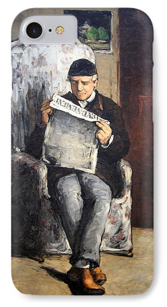 Cezanne's The Artist's Father Reading Le Evenement IPhone Case by Cora Wandel