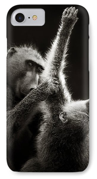 Chacma Baboons Grooming Phone Case by Johan Swanepoel