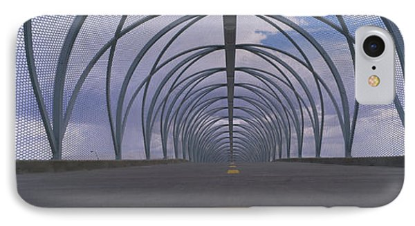 Chain-link Fence Covering A Bridge IPhone Case by Panoramic Images