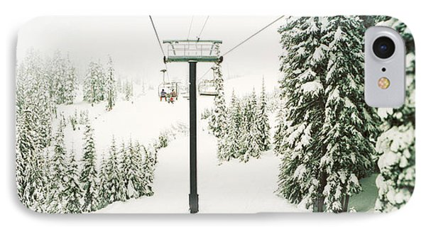 Chair Lift And Snowy Evergreen Trees IPhone Case by Panoramic Images