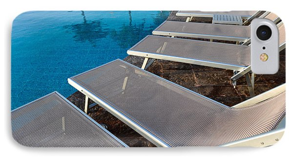 Chairs Around Hotel Pool Phone Case by Brandon Bourdages
