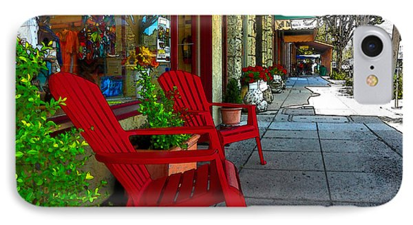 Chairs On A Sidewalk Phone Case by James Eddy