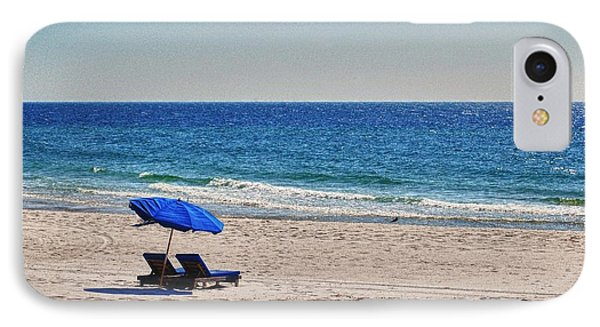 Chairs On The Beach With Umbrella Phone Case by Michael Thomas