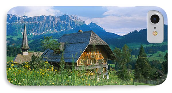 Chalet And A Church On A Landscape IPhone Case