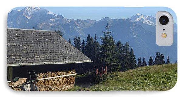 Chalet In The Swiss Alps Bettmeralp Switzerland IPhone Case by Matthias Hauser