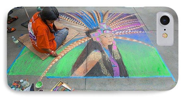 IPhone Case featuring the photograph Pasadena Chalk Art - Street Photography by Ram Vasudev