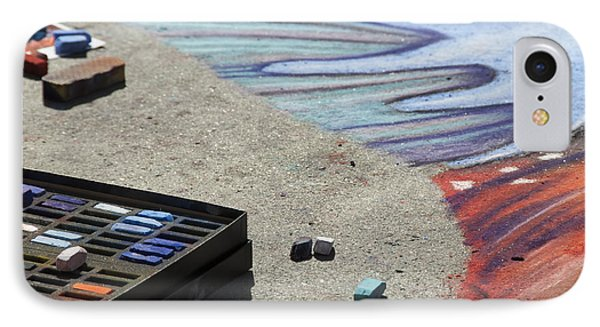 Chalk Art Supplies On The Street IPhone Case by Juli Scalzi
