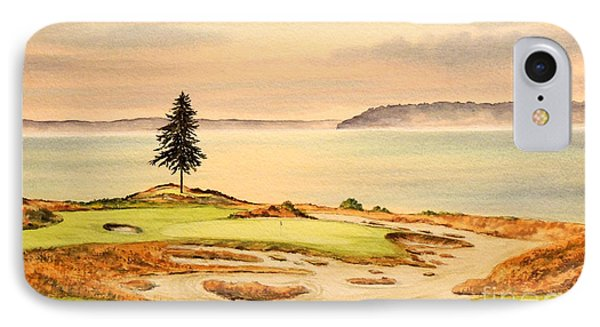 IPhone Case featuring the painting Chambers Bay Golf Course Hole 15 by Bill Holkham