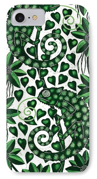Chameleons Tall, 2013 Woodcut IPhone Case by Nat Morley