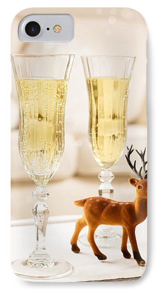 Champagne At Christmas IPhone Case by Amanda Elwell