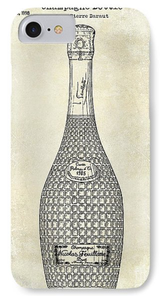Champagne Bottle Patent Drawing IPhone Case