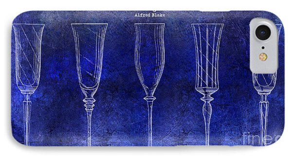 Champagne Flutes Design Patent Drawing Blue IPhone Case by Jon Neidert