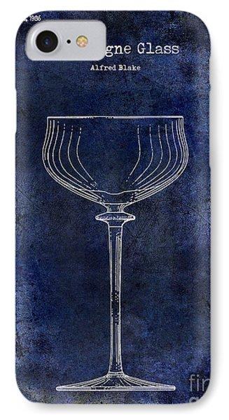 Champagne Glass Patent Drawing Blue 2 IPhone Case by Jon Neidert