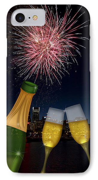 Champagne Toast With Portland Oregon Skyline IPhone Case by Jit Lim