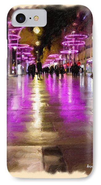 Champs Elysees In Pink Phone Case by Angela A Stanton