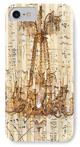 Chandelier With Franz Liszt Music Score Phone Case by Suzanne Powers
