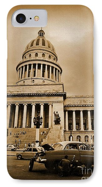 Changing A Tire In Front Of The Capitol Building In Havana Phone Case by John Malone
