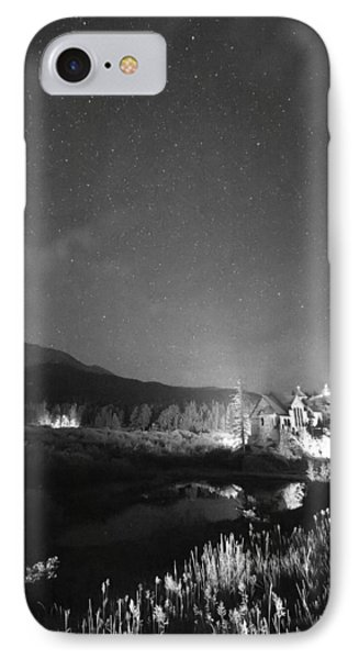 Chapel On The Rock Stary Night Portrait Bw Phone Case by James BO  Insogna