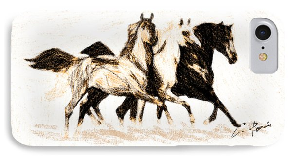 Charcoal Horses IPhone Case