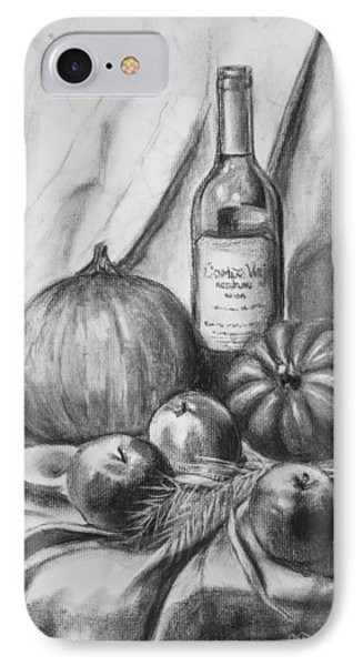 IPhone Case featuring the drawing Charcoal Still Life Harvest by Dee Dee  Whittle