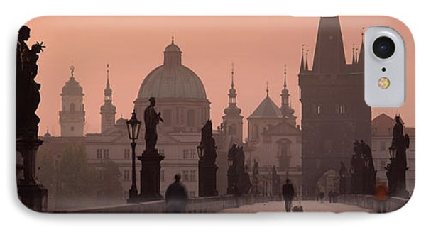 Charles Bridge At Dusk With The Church IPhone Case by Panoramic Images