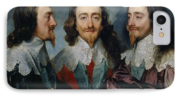 Charles I In Three Positions IPhone Case by Anthony van Dyck